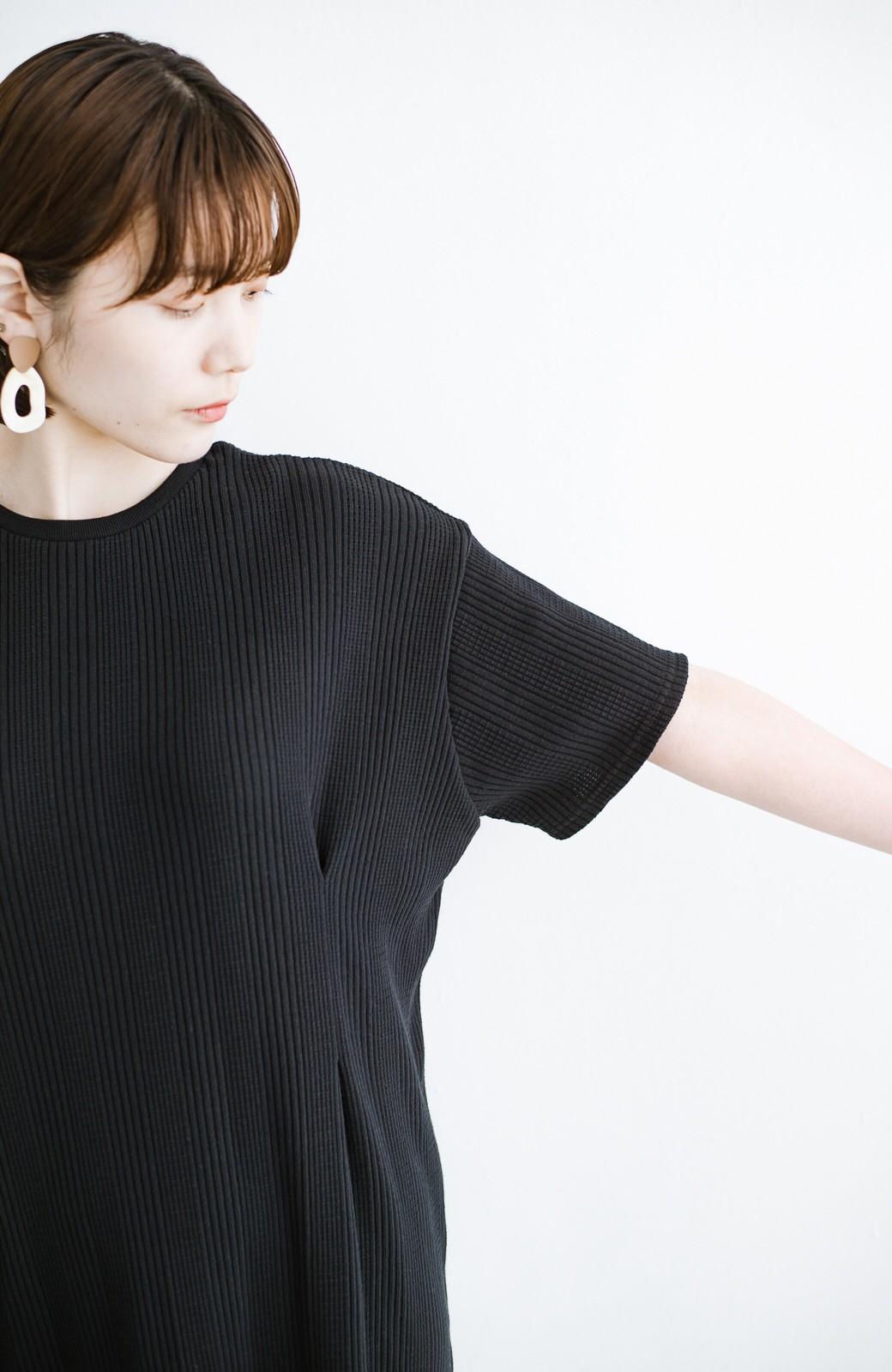 haco! パッと着るだけで楽ちんかわいいランダムテレコのTシャツワンピース <ブラック>の商品写真4
