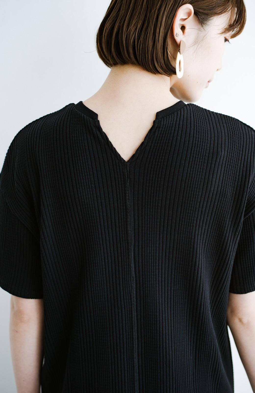 haco! パッと着るだけで楽ちんかわいいランダムテレコのTシャツワンピース <ブラック>の商品写真3