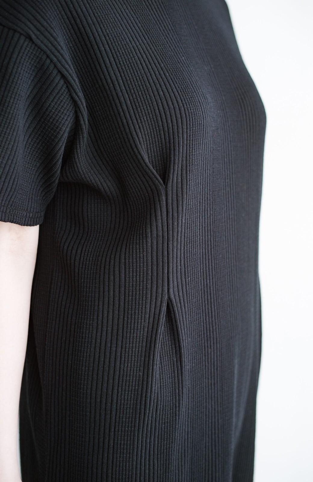 haco! パッと着るだけで楽ちんかわいいランダムテレコのTシャツワンピース <ブラック>の商品写真6