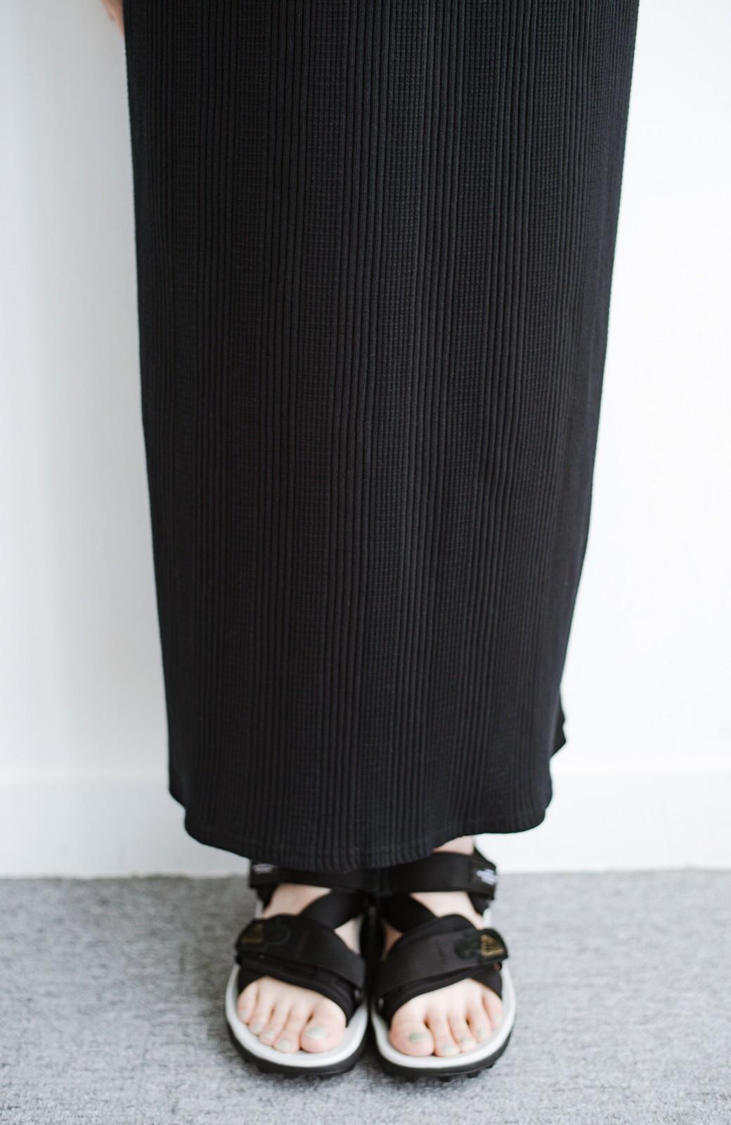 haco! パッと着るだけで楽ちんかわいいランダムテレコのTシャツワンピース <ブラック>の商品写真7