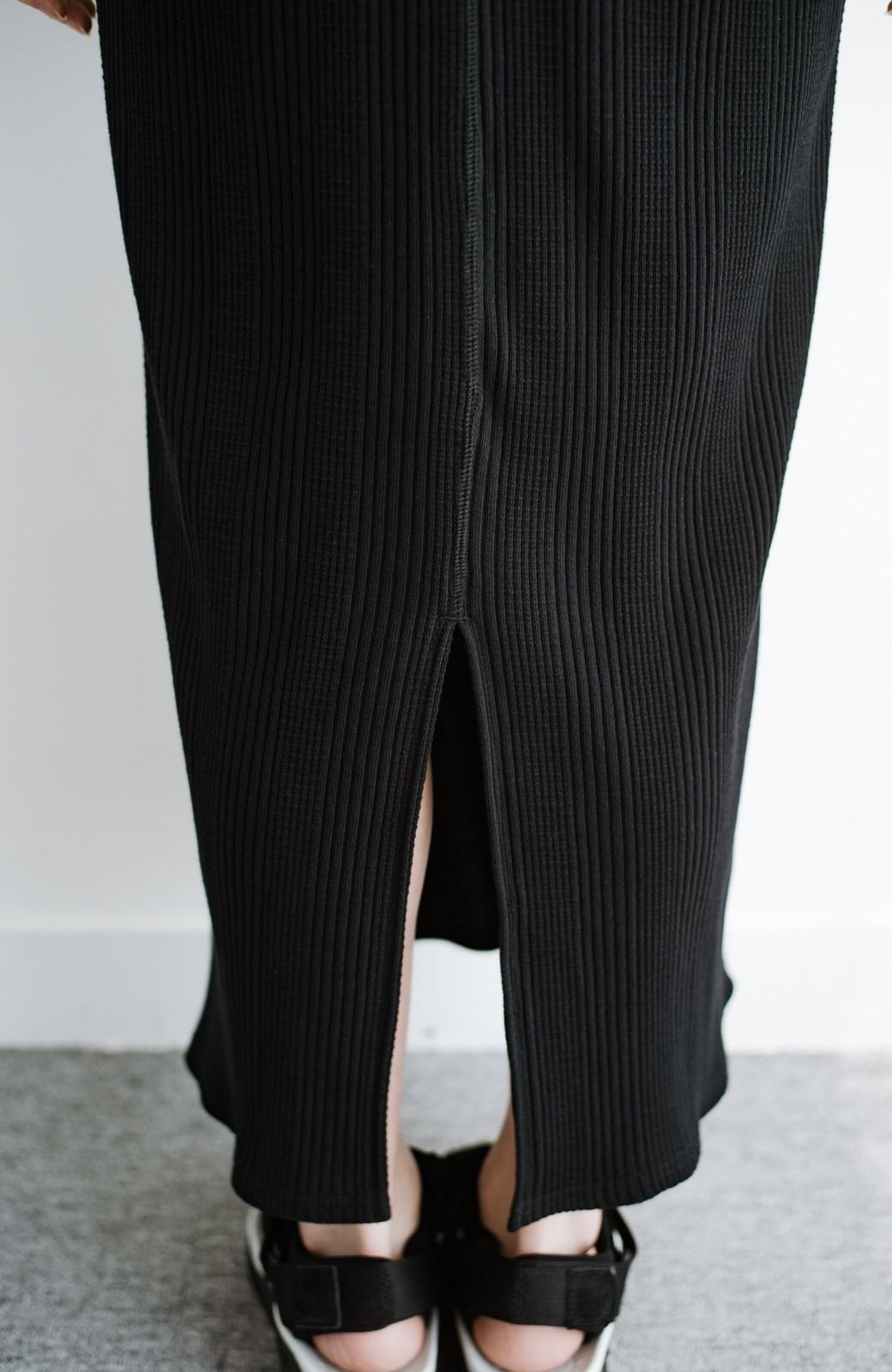 haco! パッと着るだけで楽ちんかわいいランダムテレコのTシャツワンピース <ブラック>の商品写真8