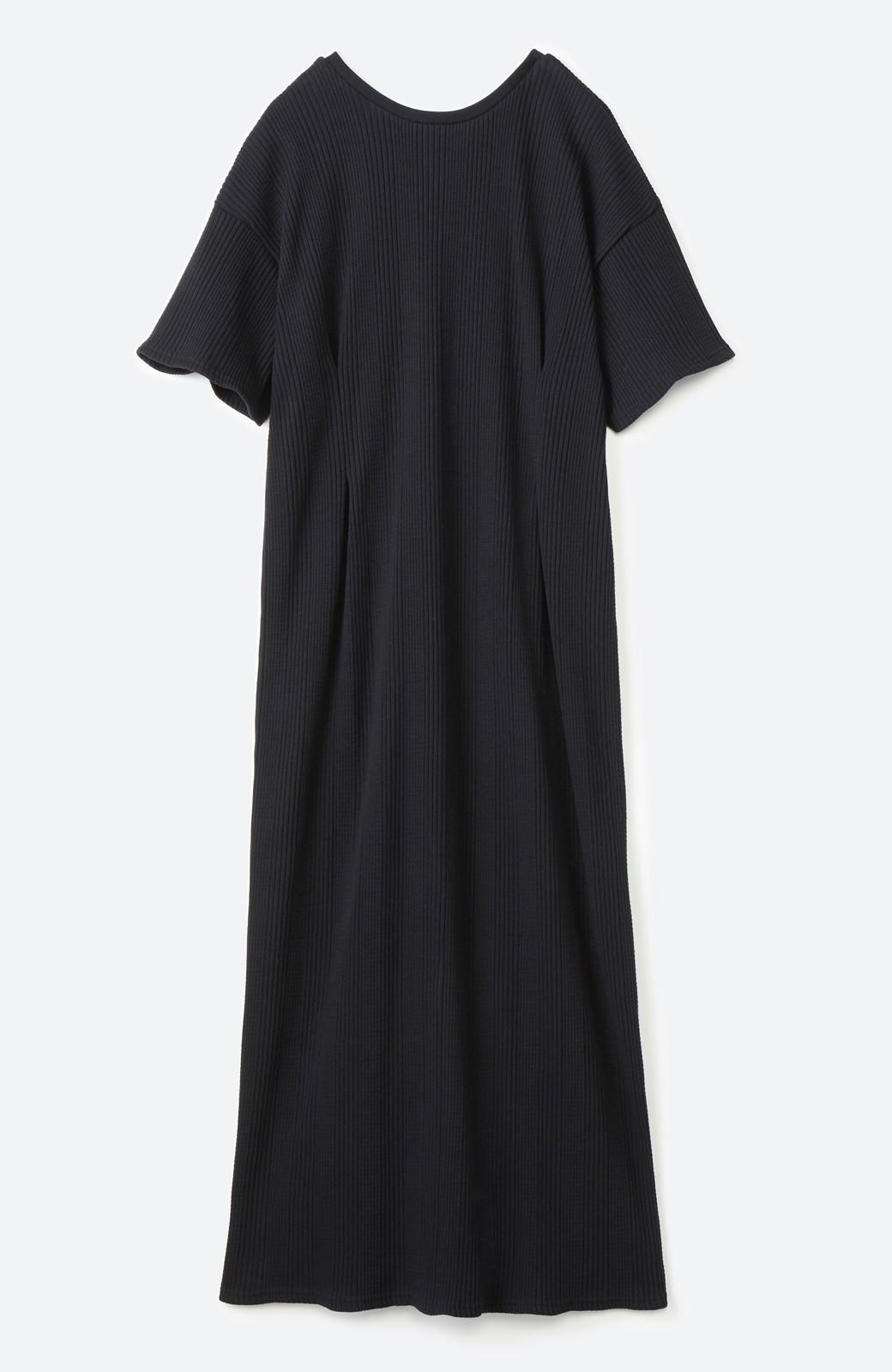 haco! パッと着るだけで楽ちんかわいいランダムテレコのTシャツワンピース <ブラック>の商品写真18