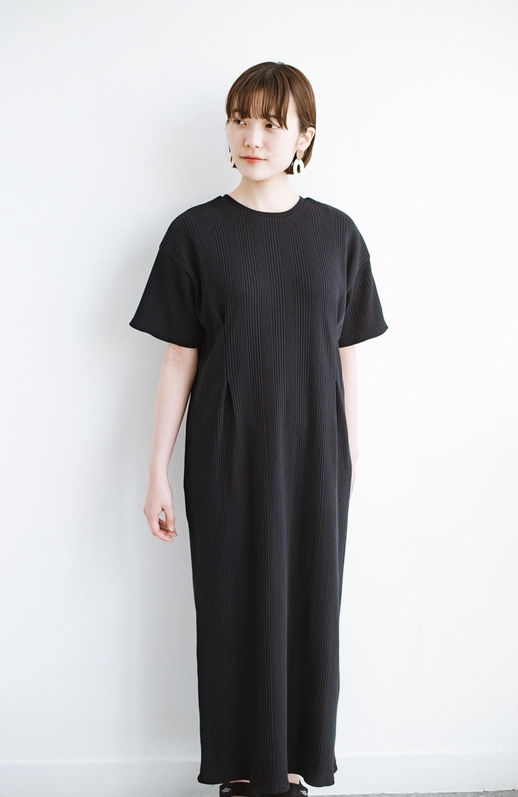 haco! パッと着るだけで楽ちんかわいいランダムテレコのTシャツワンピース <ブラック>の商品写真16