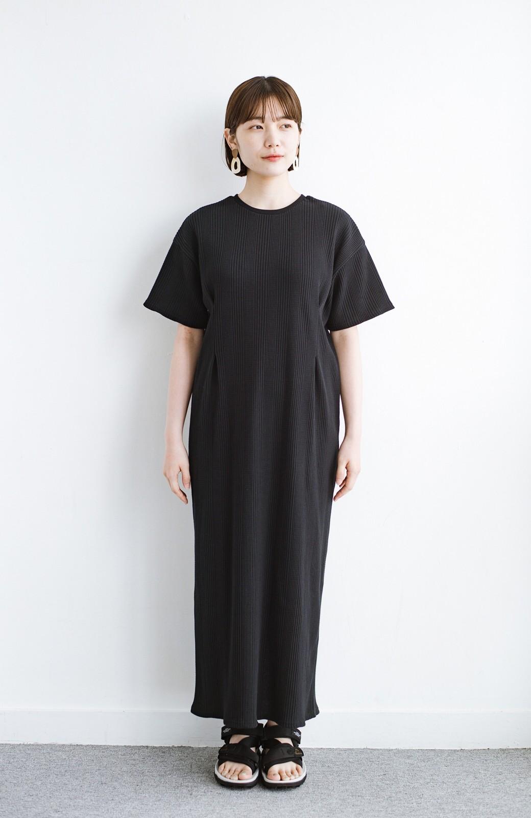 haco! パッと着るだけで楽ちんかわいいランダムテレコのTシャツワンピース <ブラック>の商品写真9