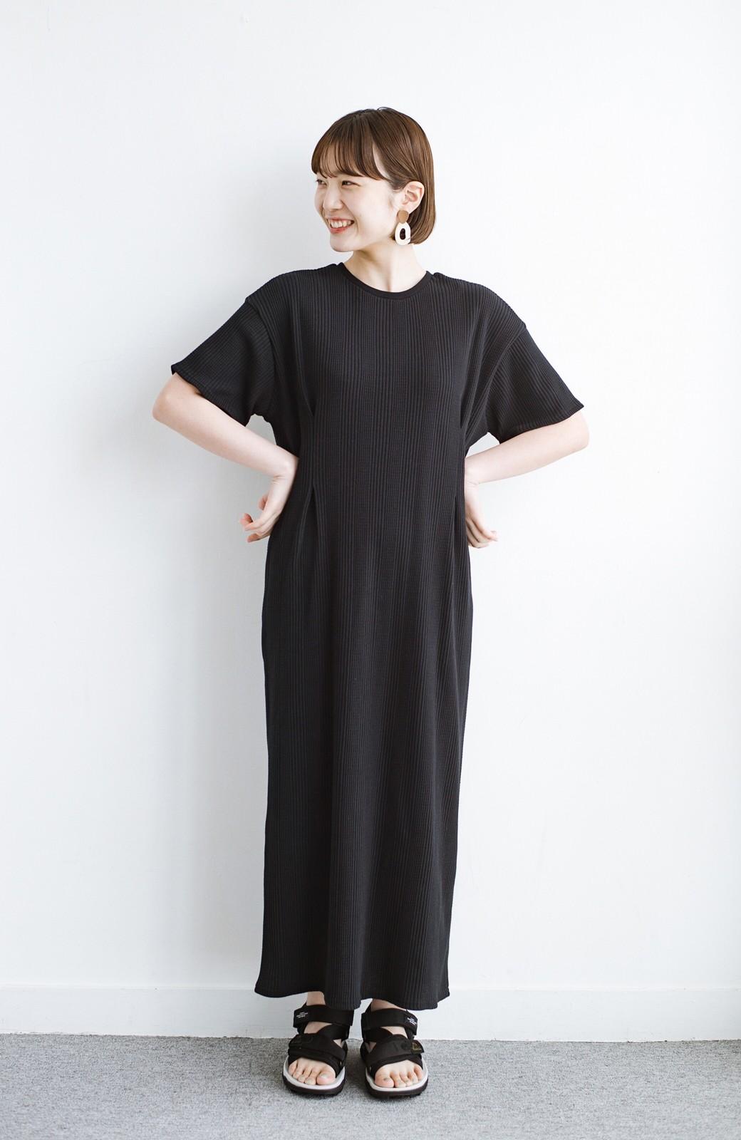 haco! パッと着るだけで楽ちんかわいいランダムテレコのTシャツワンピース <ブラック>の商品写真10