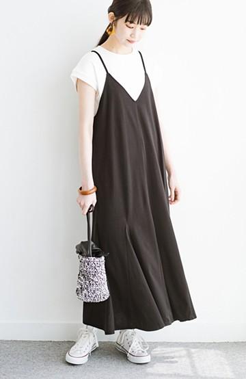 haco! Tシャツの上からゆるりと着るだけでスタイルが決まるカットソーキャミワンピース <ブラック>の商品写真