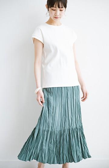 haco! Tシャツを合わせてもシンプルすぎずに華やか見えするワッシャープリーツスカート <ミント>の商品写真