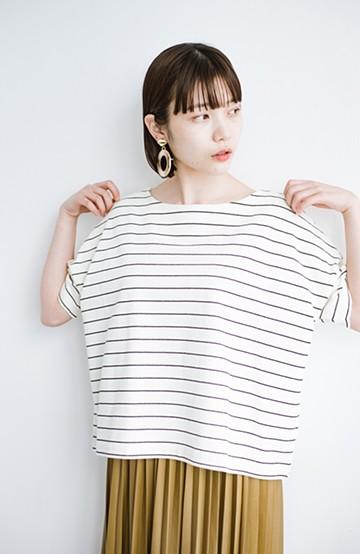 haco! テントラインシルエットが女っぽい シンプルだけどあなどれない半袖ボーダートップス <ホワイト×ブラック>の商品写真