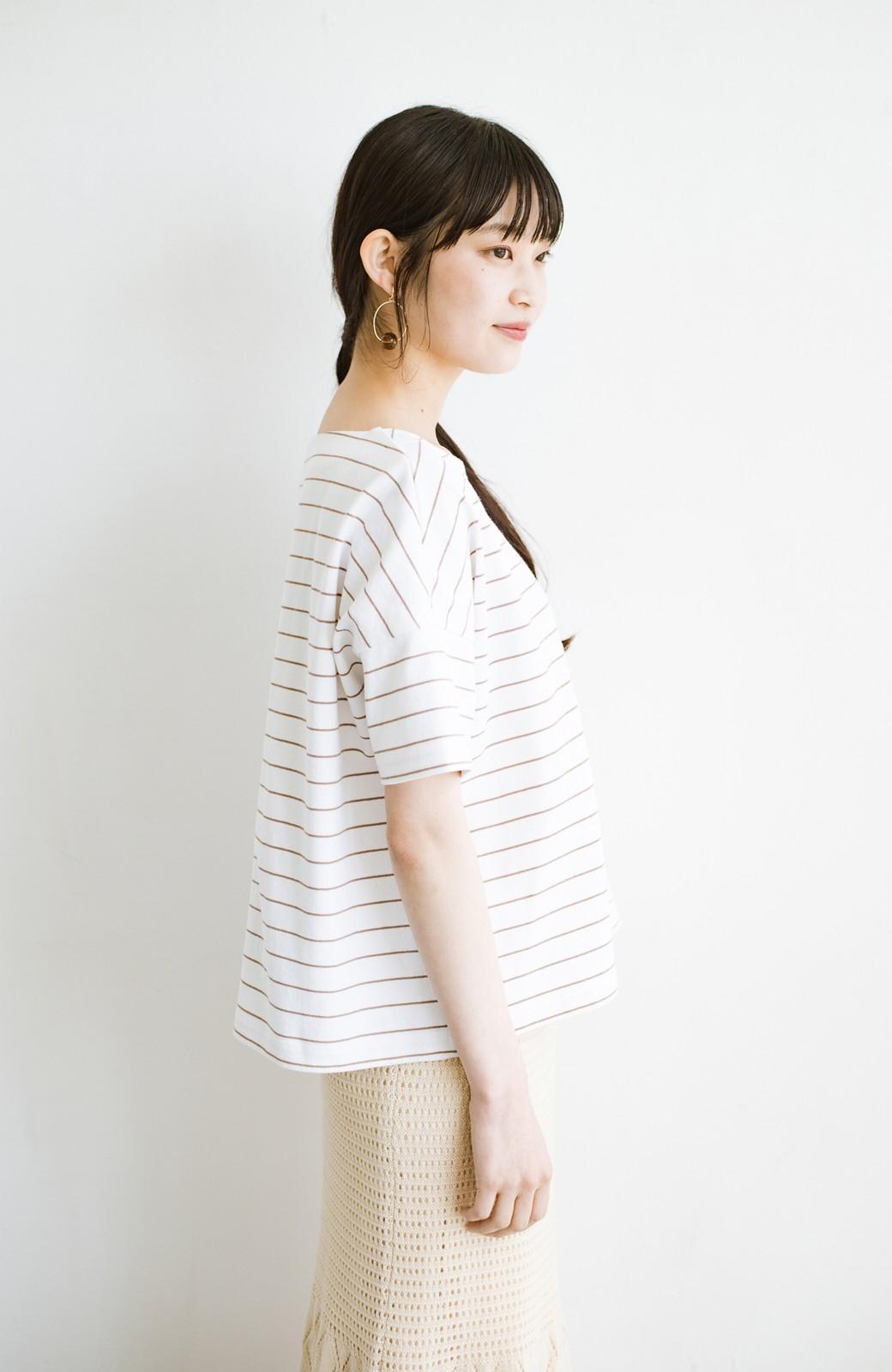 haco! テントラインシルエットが女っぽい シンプルだけどあなどれない半袖ボーダートップス <ホワイト系その他>の商品写真15