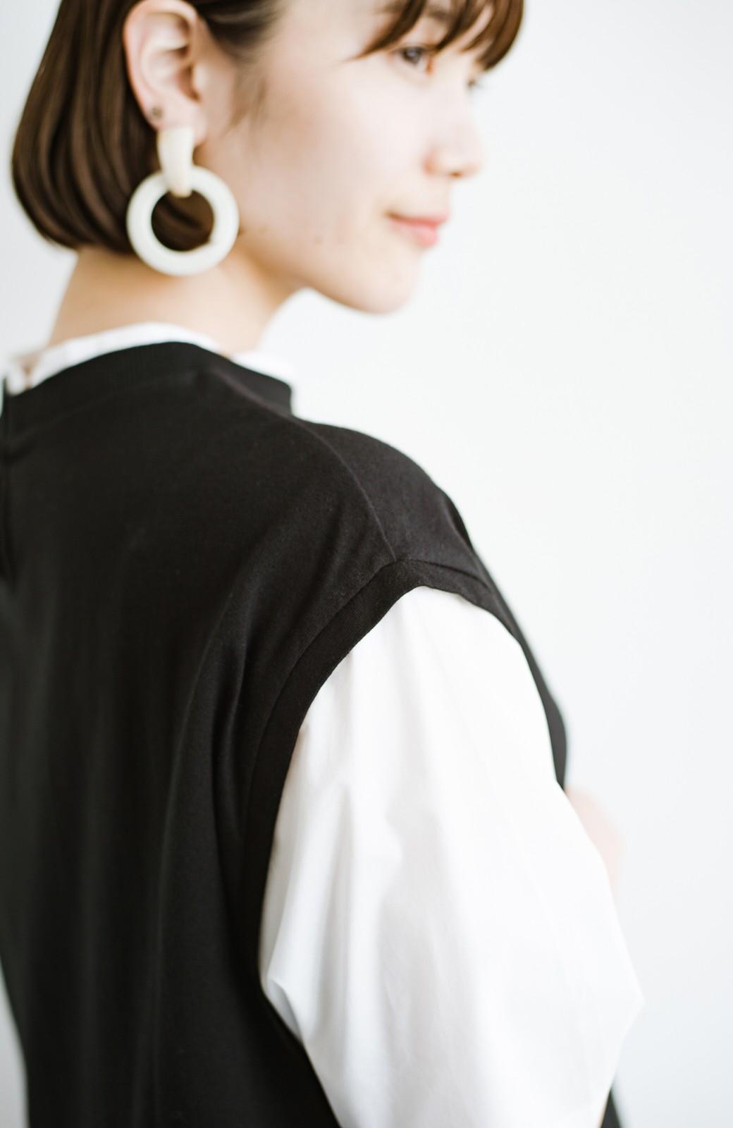 haco! こう見えて楽してます!1枚できっちり可愛いシャツ重ね着風トップス <ブラック>の商品写真6