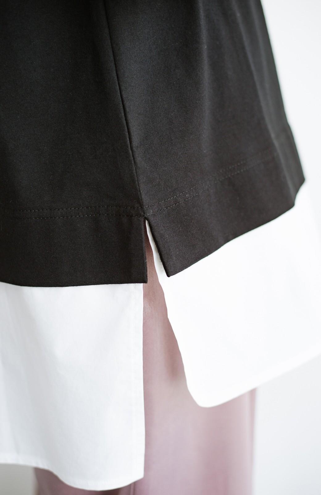 haco! こう見えて楽してます!1枚できっちり可愛いシャツ重ね着風トップス <ブラック>の商品写真7