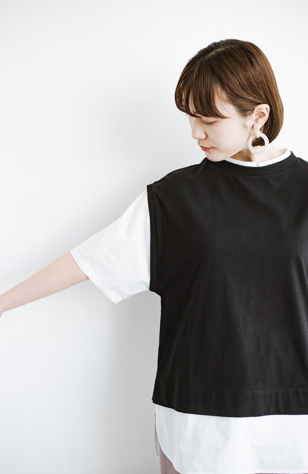 haco! こう見えて楽してます!1枚できっちり可愛いシャツ重ね着風トップス <ブラック>の商品写真8
