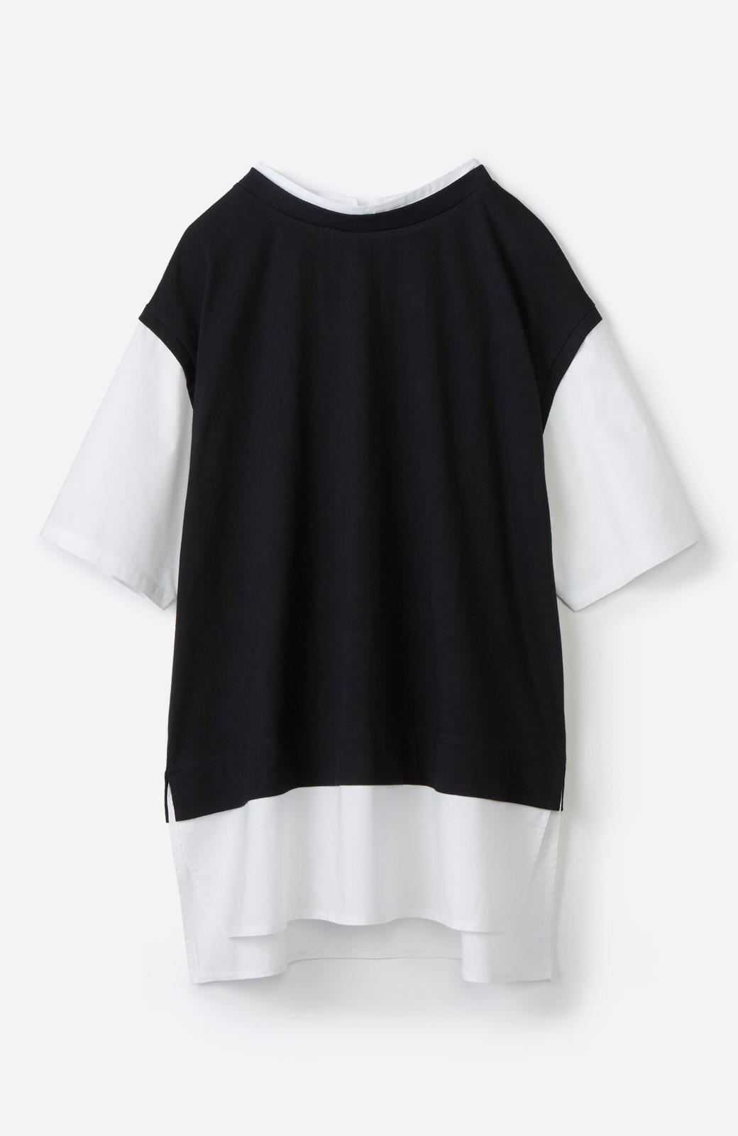 haco! こう見えて楽してます!1枚できっちり可愛いシャツ重ね着風トップス <ブラック>の商品写真20