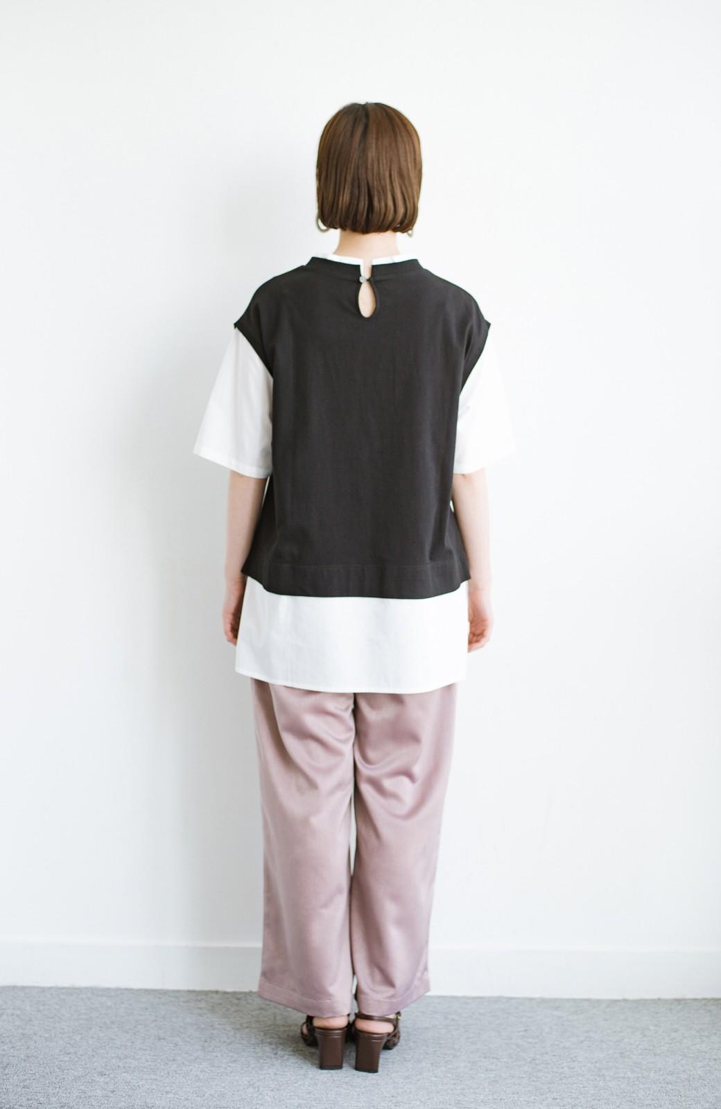 haco! こう見えて楽してます!1枚できっちり可愛いシャツ重ね着風トップス <ブラック>の商品写真13