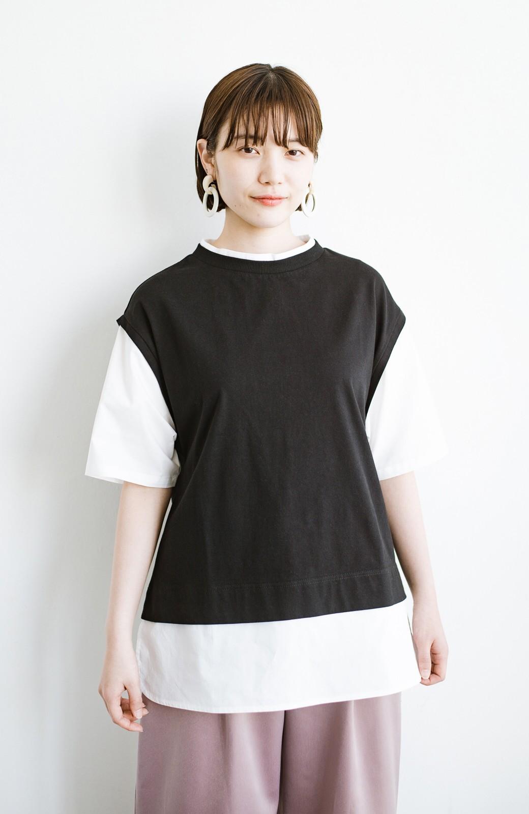haco! こう見えて楽してます!1枚できっちり可愛いシャツ重ね着風トップス <ブラック>の商品写真14
