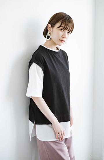 haco! こう見えて楽してます!1枚できっちり可愛いシャツ重ね着風トップス <ブラック>の商品写真