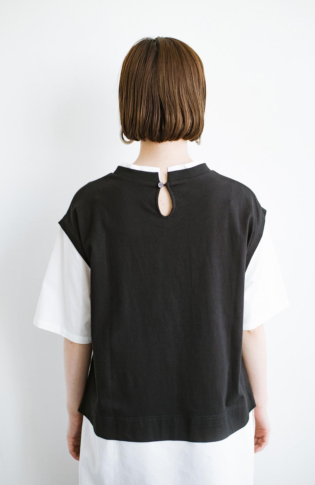 haco! こう見えて楽してます!1枚できっちり可愛いシャツ重ね着風トップス <ブラック>の商品写真16