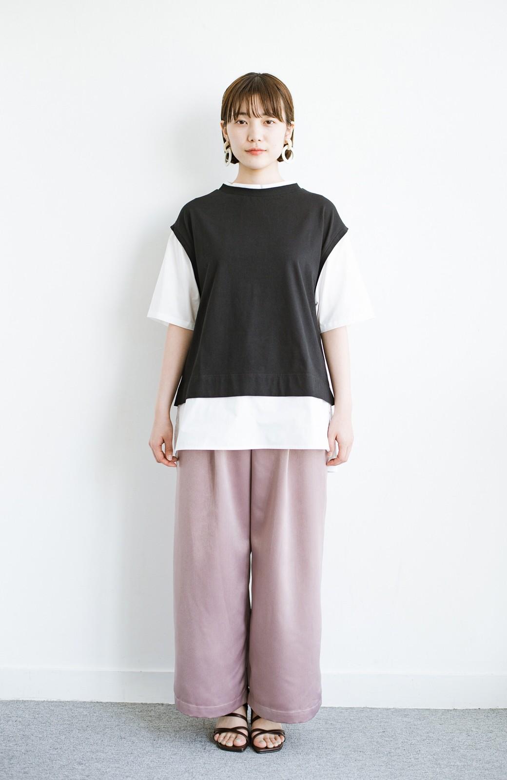 haco! こう見えて楽してます!1枚できっちり可愛いシャツ重ね着風トップス <ブラック>の商品写真9