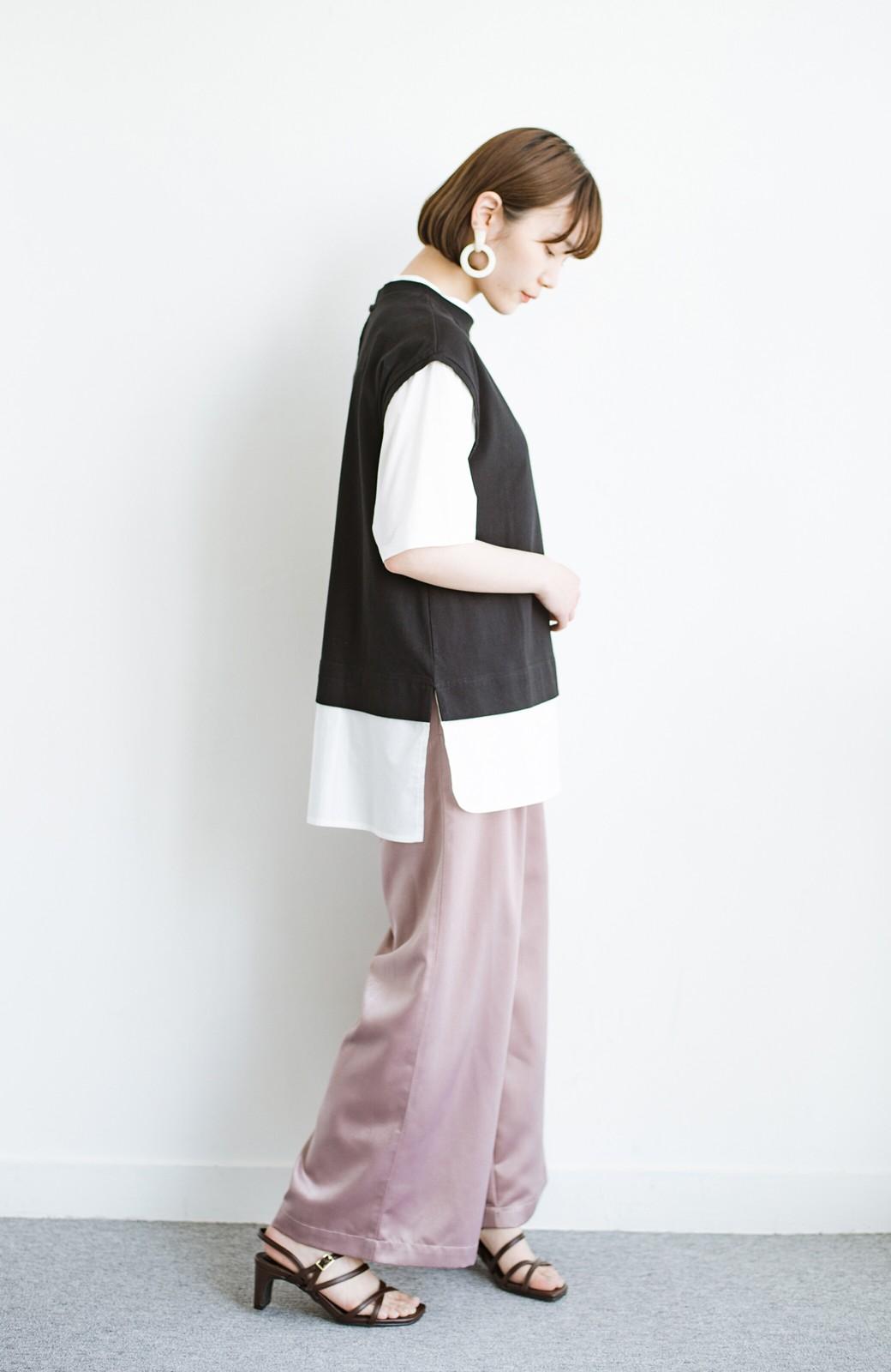 haco! こう見えて楽してます!1枚できっちり可愛いシャツ重ね着風トップス <ブラック>の商品写真12