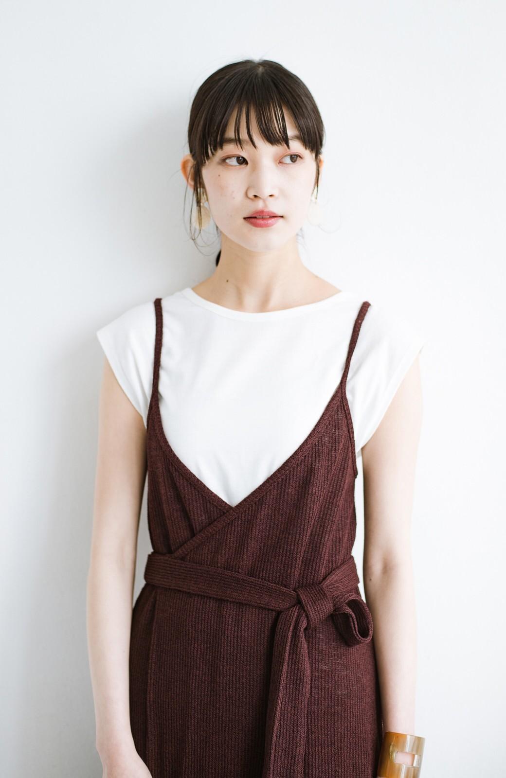 haco! 合わせて着るだけで今っぽかわいい シンプルTシャツ&カシュクールキャミワンピースセット <ダークブラウン>の商品写真3