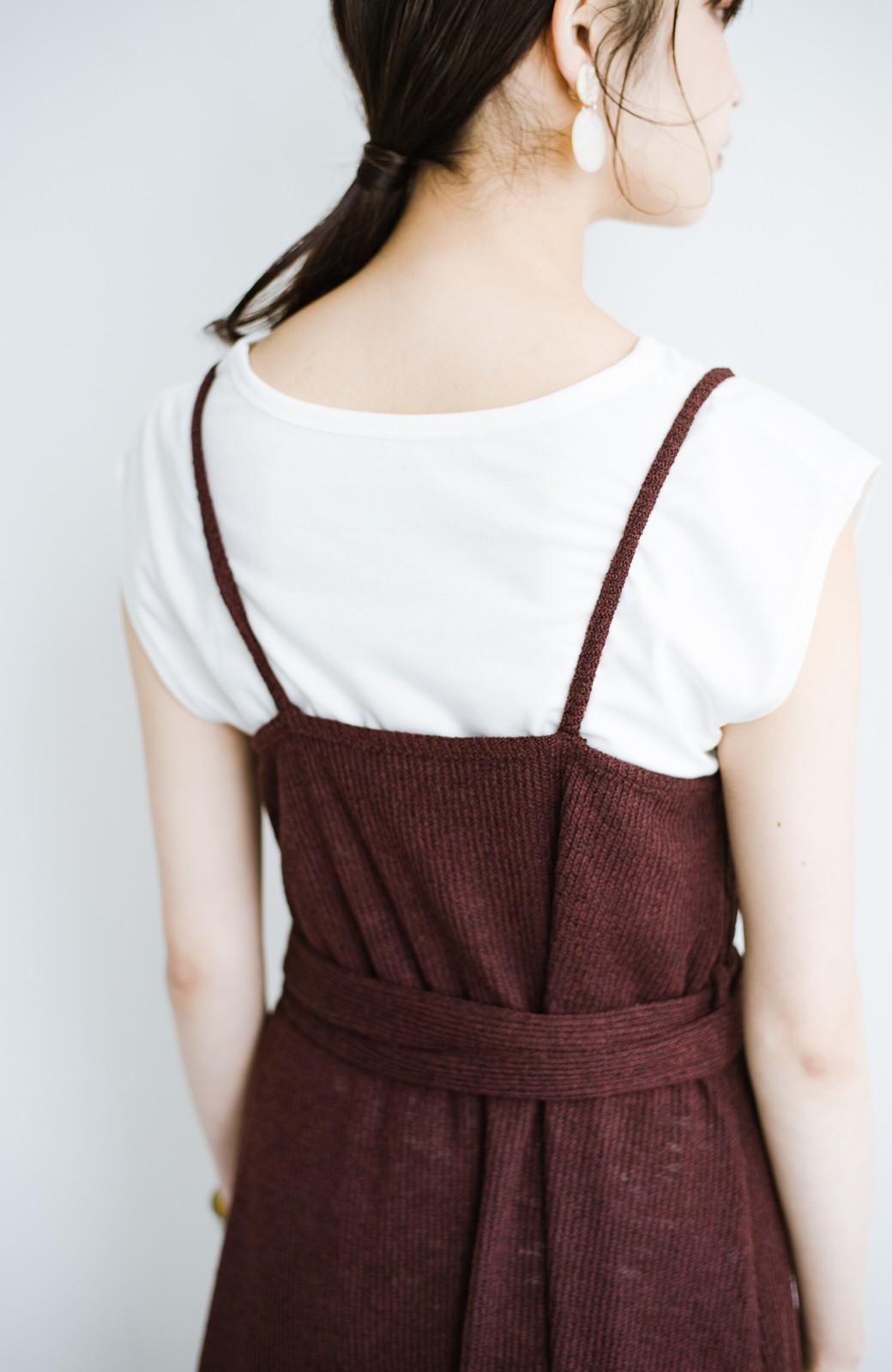 haco! 合わせて着るだけで今っぽかわいい シンプルTシャツ&カシュクールキャミワンピースセット <ダークブラウン>の商品写真4