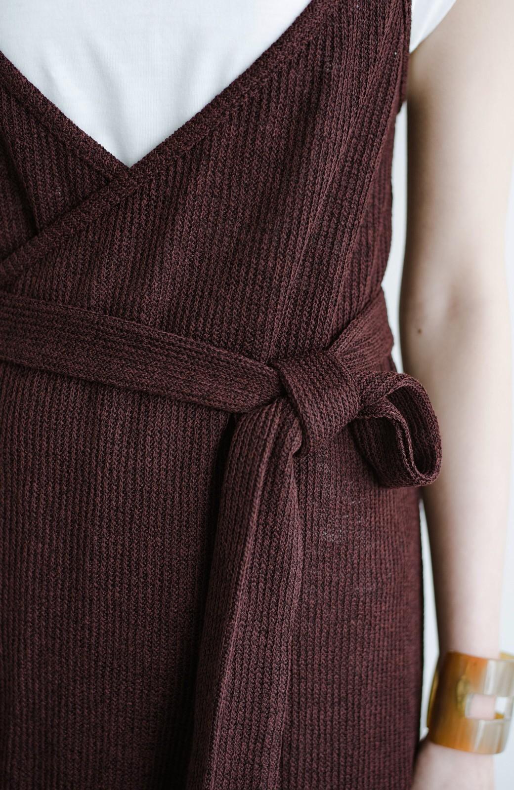haco! 合わせて着るだけで今っぽかわいい シンプルTシャツ&カシュクールキャミワンピースセット <ダークブラウン>の商品写真5