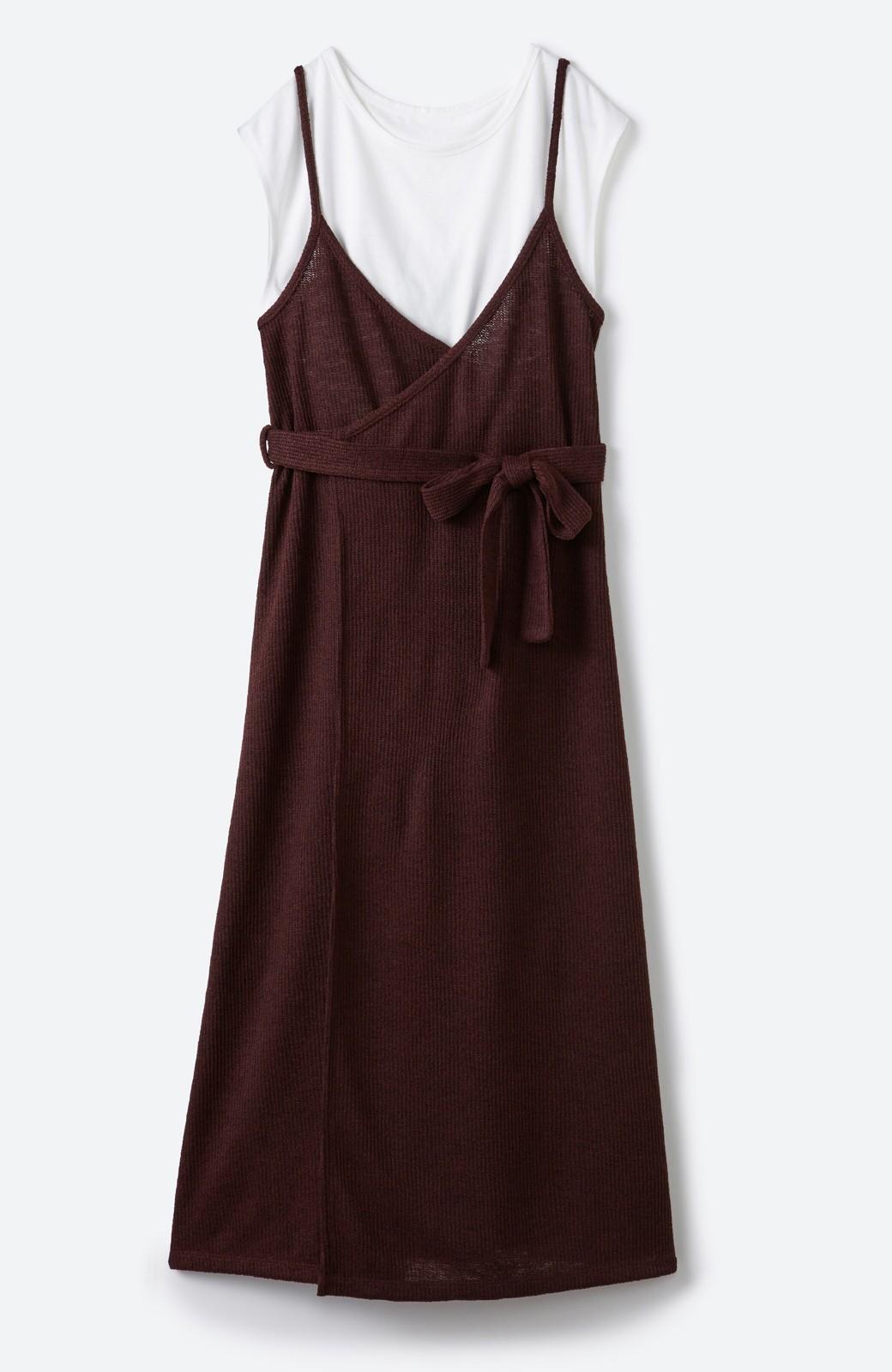 haco! 合わせて着るだけで今っぽかわいい シンプルTシャツ&カシュクールキャミワンピースセット <ダークブラウン>の商品写真18