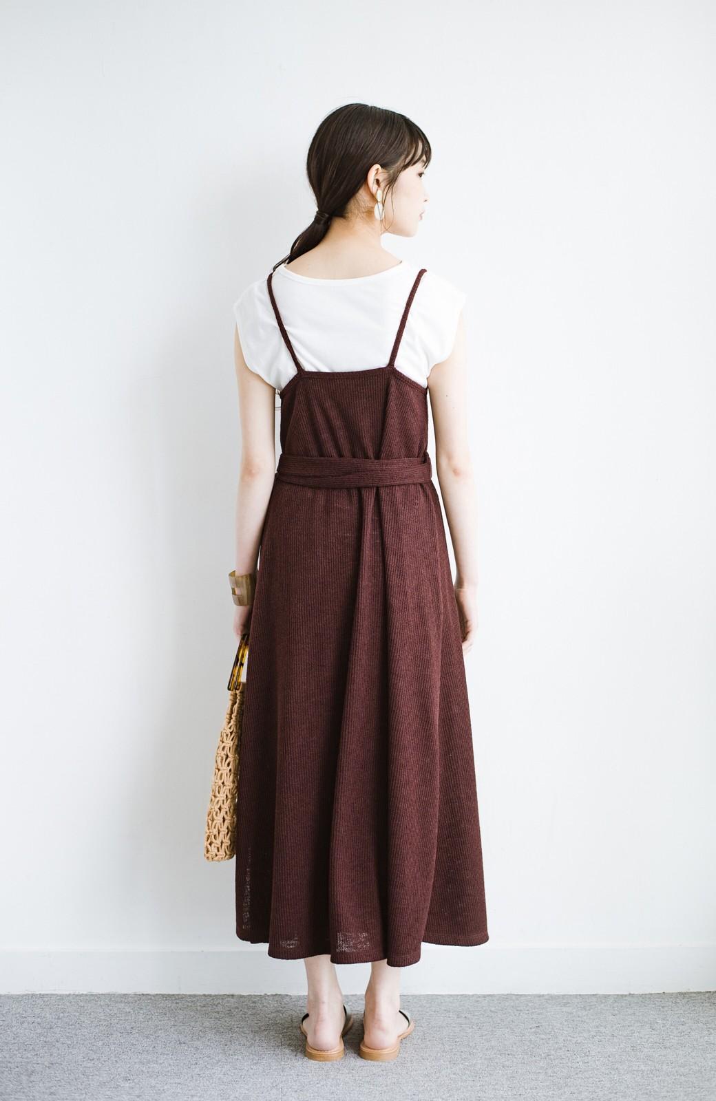 haco! 合わせて着るだけで今っぽかわいい シンプルTシャツ&カシュクールキャミワンピースセット <ダークブラウン>の商品写真12