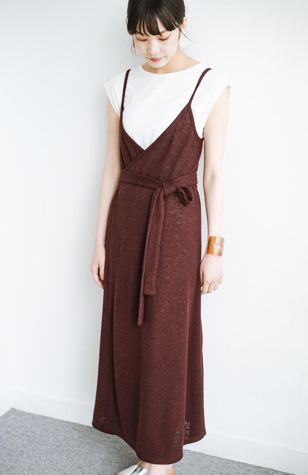 haco! 合わせて着るだけで今っぽかわいい シンプルTシャツ&カシュクールキャミワンピースセット <ダークブラウン>の商品写真13