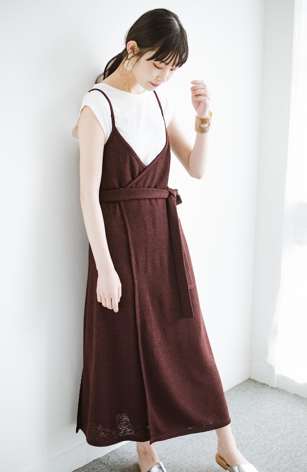 haco! 合わせて着るだけで今っぽかわいい シンプルTシャツ&カシュクールキャミワンピースセット <ダークブラウン>の商品写真14