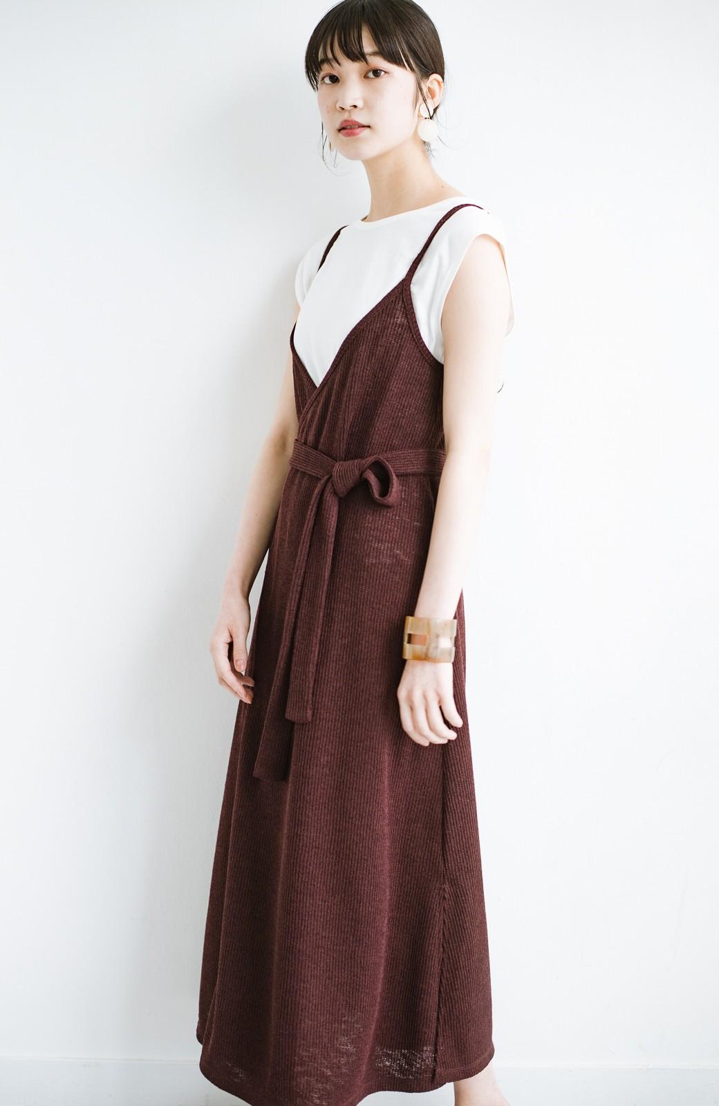 haco! 合わせて着るだけで今っぽかわいい シンプルTシャツ&カシュクールキャミワンピースセット <ダークブラウン>の商品写真15