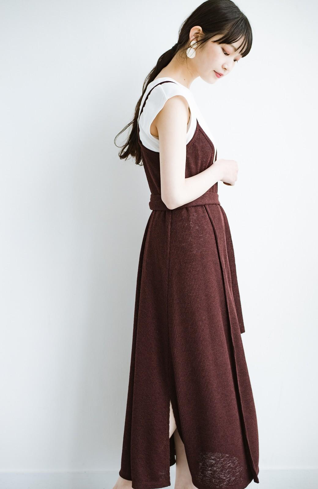 haco! 合わせて着るだけで今っぽかわいい シンプルTシャツ&カシュクールキャミワンピースセット <ダークブラウン>の商品写真16