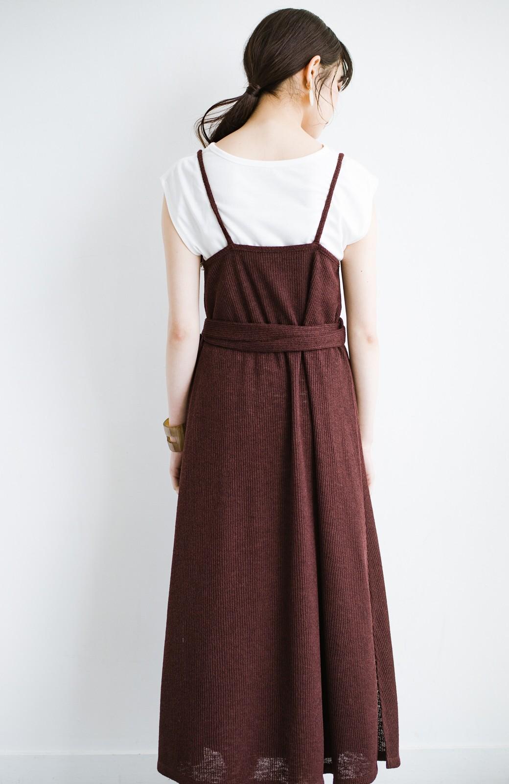 haco! 合わせて着るだけで今っぽかわいい シンプルTシャツ&カシュクールキャミワンピースセット <ダークブラウン>の商品写真17