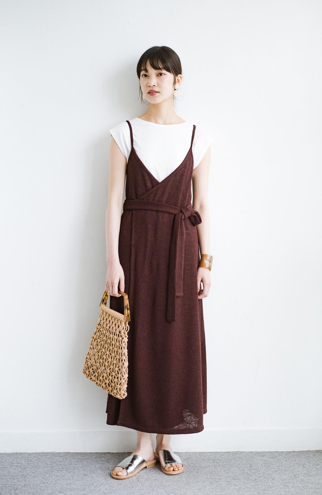 haco! 合わせて着るだけで今っぽかわいい シンプルTシャツ&カシュクールキャミワンピースセット <ダークブラウン>の商品写真8