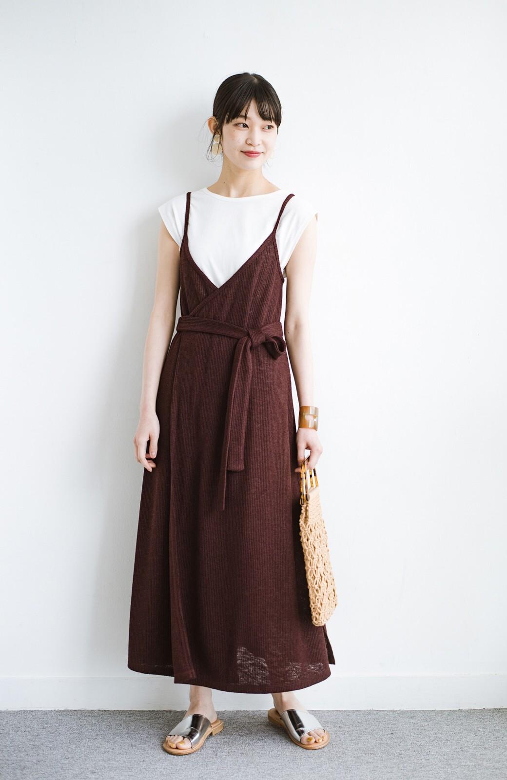 haco! 合わせて着るだけで今っぽかわいい シンプルTシャツ&カシュクールキャミワンピースセット <ダークブラウン>の商品写真9