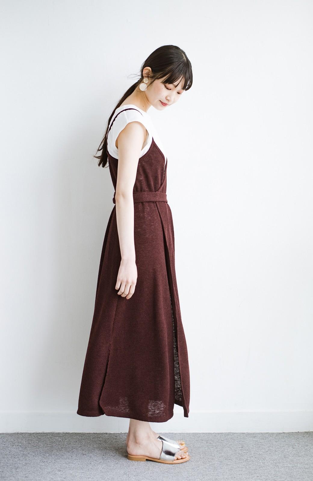 haco! 合わせて着るだけで今っぽかわいい シンプルTシャツ&カシュクールキャミワンピースセット <ダークブラウン>の商品写真10