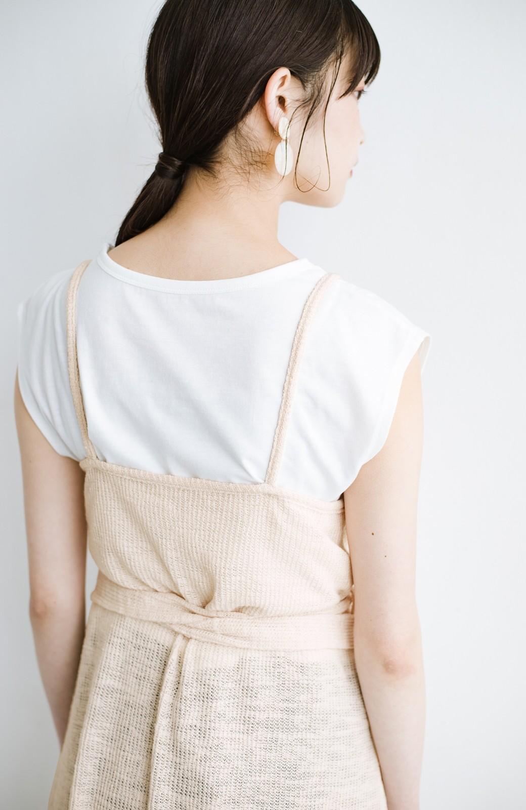 haco! 合わせて着るだけで今っぽかわいい シンプルTシャツ&カシュクールキャミワンピースセット <ライトベージュ>の商品写真7