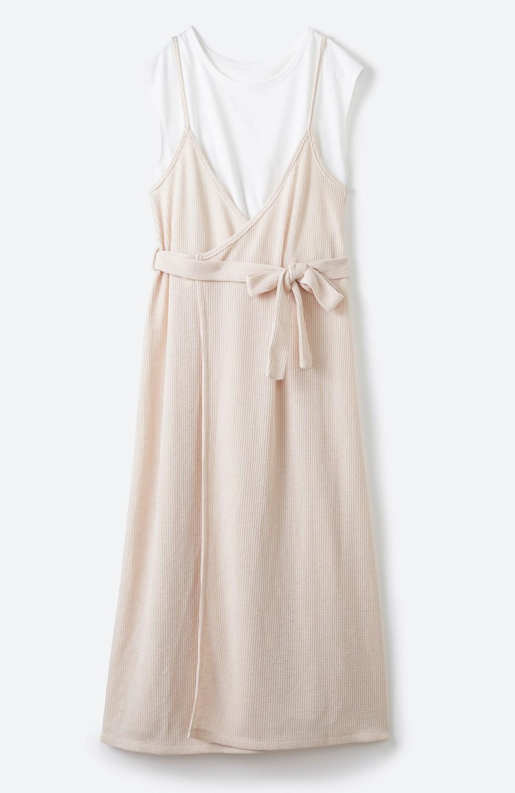 haco! 合わせて着るだけで今っぽかわいい シンプルTシャツ&カシュクールキャミワンピースセット <ライトベージュ>の商品写真18