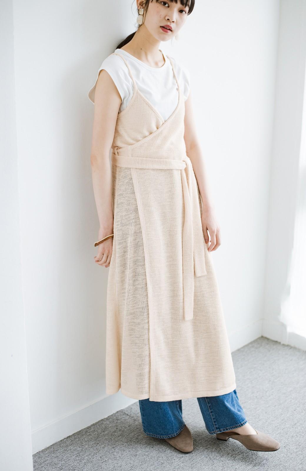 haco! 合わせて着るだけで今っぽかわいい シンプルTシャツ&カシュクールキャミワンピースセット <ライトベージュ>の商品写真15