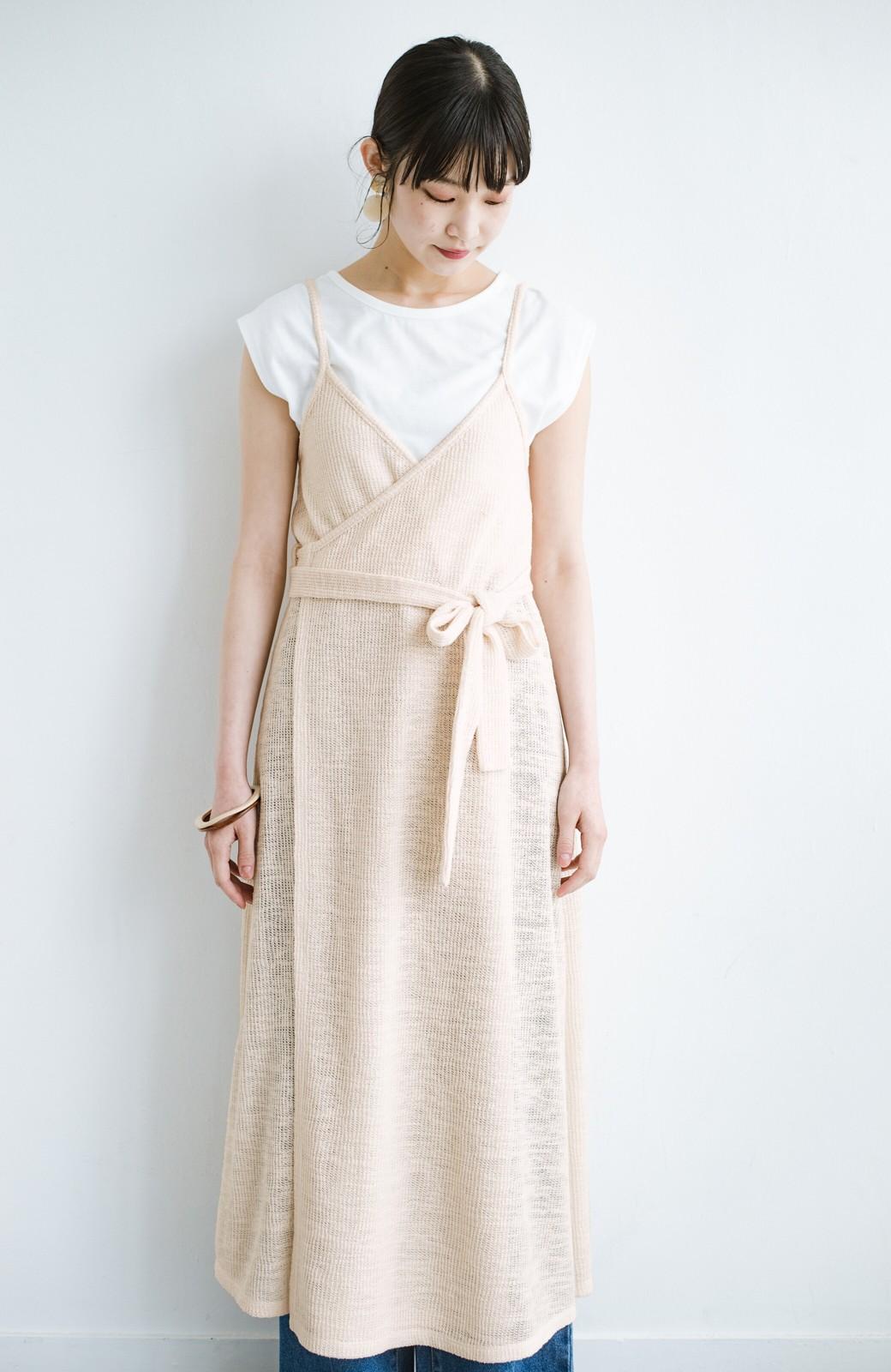 haco! 合わせて着るだけで今っぽかわいい シンプルTシャツ&カシュクールキャミワンピースセット <ライトベージュ>の商品写真16