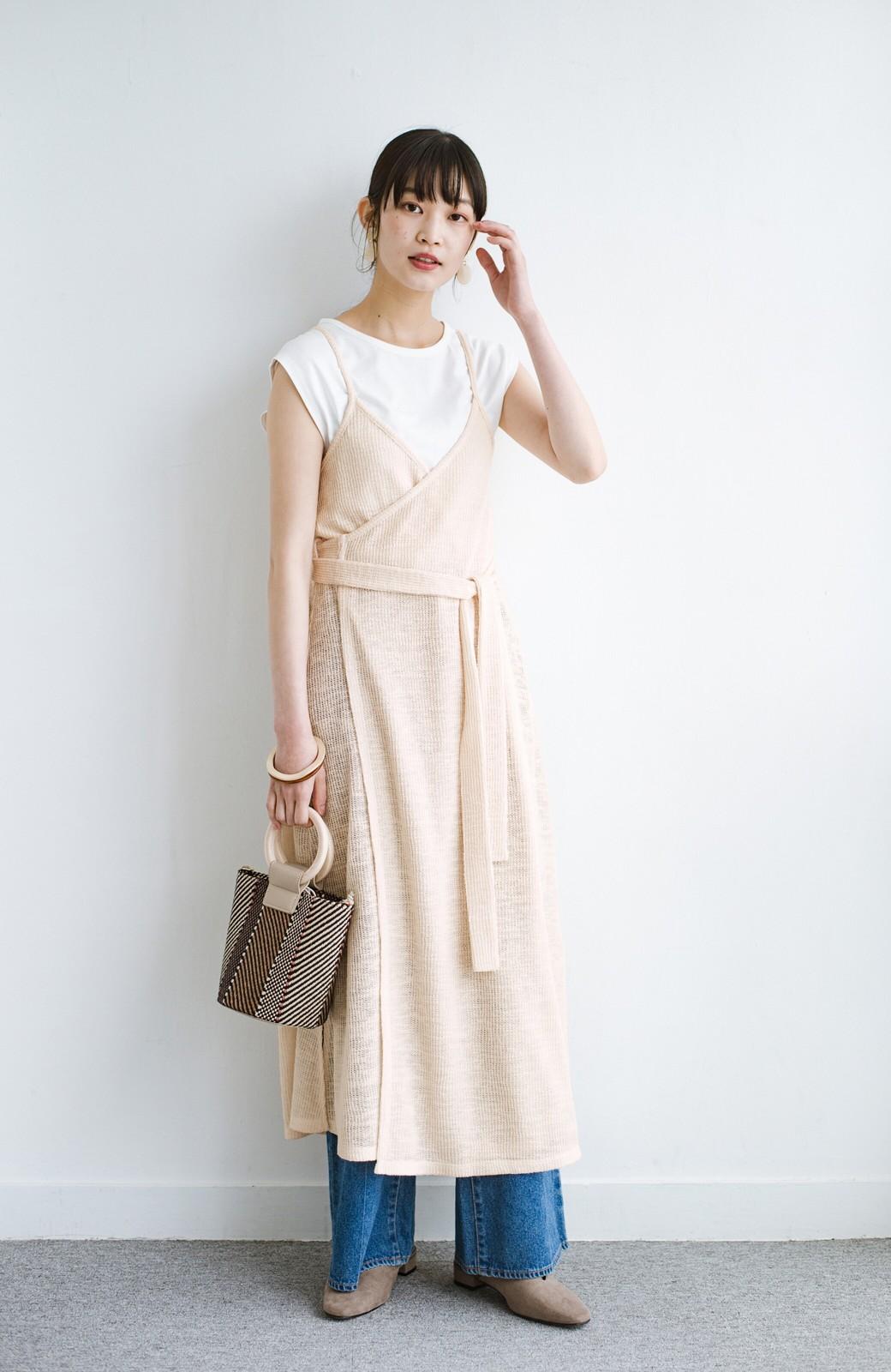 haco! 合わせて着るだけで今っぽかわいい シンプルTシャツ&カシュクールキャミワンピースセット <ライトベージュ>の商品写真8