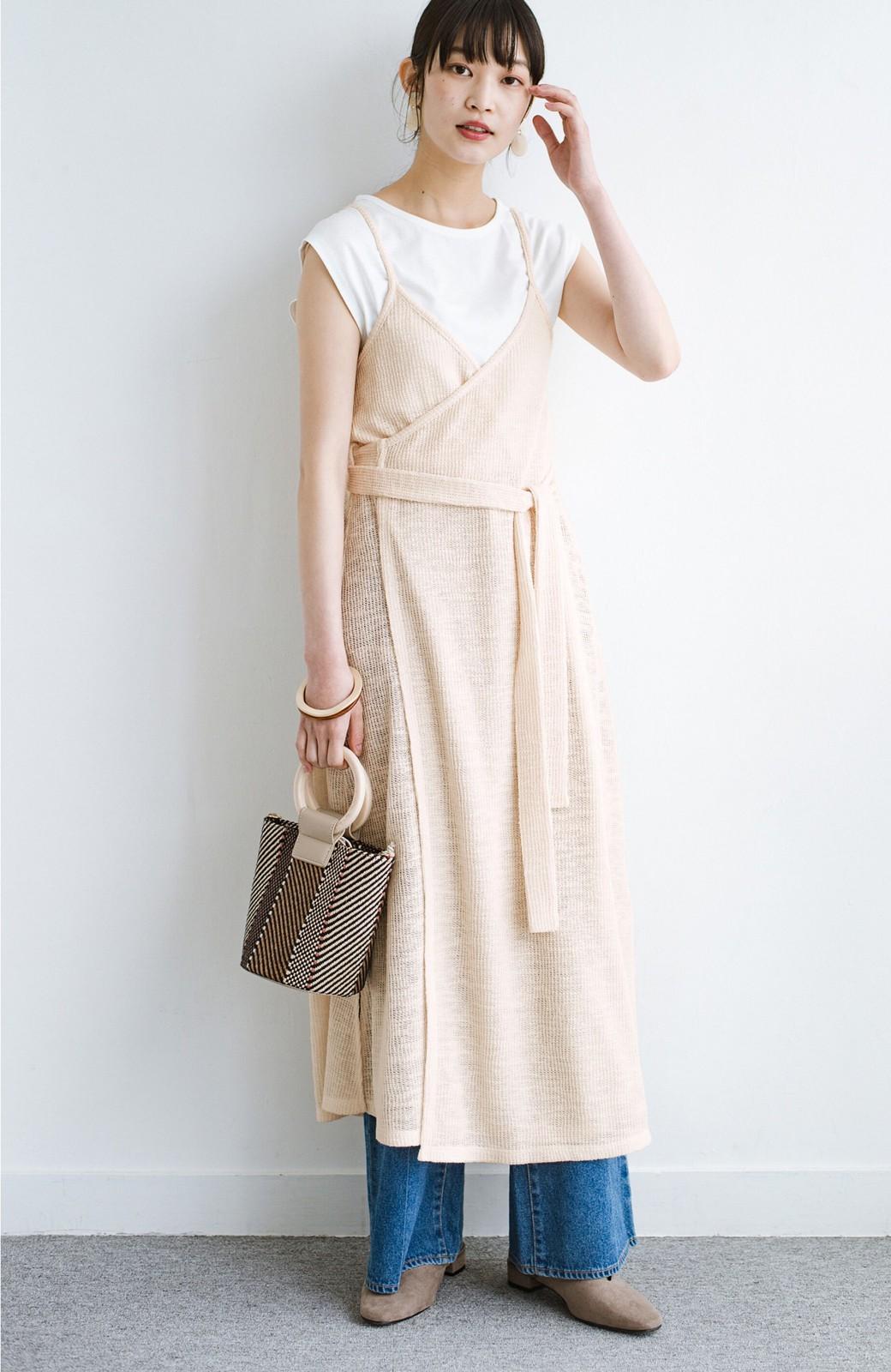 haco! 合わせて着るだけで今っぽかわいい シンプルTシャツ&カシュクールキャミワンピースセット <ライトベージュ>の商品写真1
