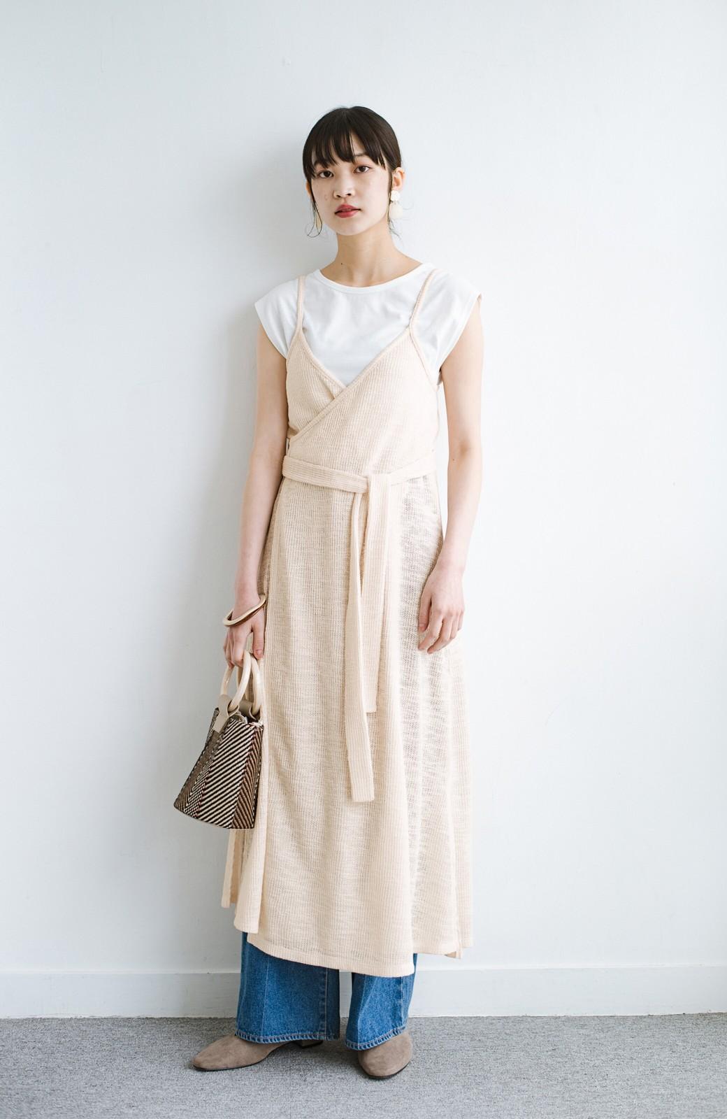 haco! 合わせて着るだけで今っぽかわいい シンプルTシャツ&カシュクールキャミワンピースセット <ライトベージュ>の商品写真9