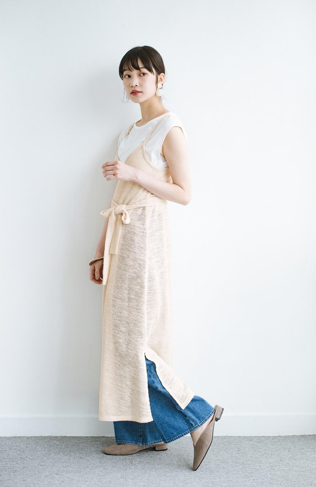 haco! 合わせて着るだけで今っぽかわいい シンプルTシャツ&カシュクールキャミワンピースセット <ライトベージュ>の商品写真13