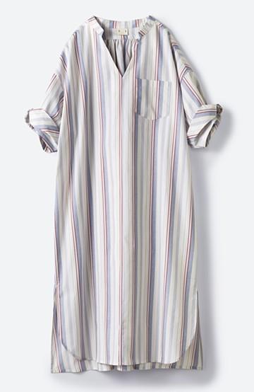 haco! くしゅっと袖がかわいい!重ね着に便利な爽やかシャツワンピース <ホワイト系その他>の商品写真