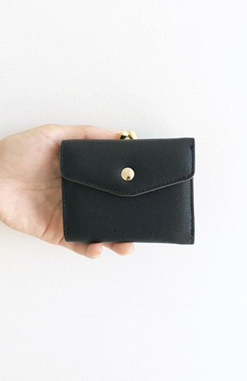 haco! Legato Largo  グレインフェイクレザー三つ折ミニ財布 <ブラック>の商品写真
