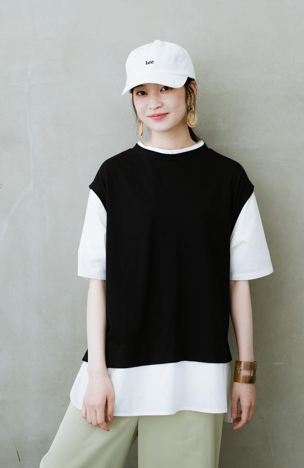 haco! こう見えて楽してます!1枚できっちり可愛いシャツ重ね着風トップス <ブラック>の商品写真2