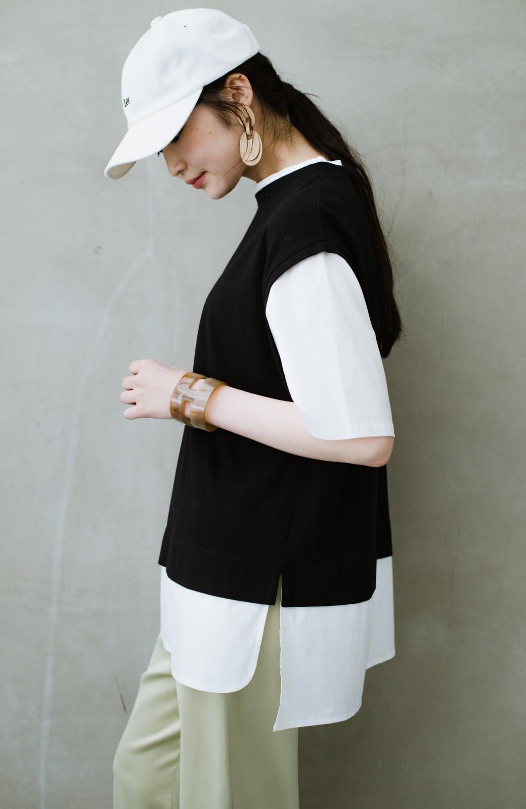 haco! こう見えて楽してます!1枚できっちり可愛いシャツ重ね着風トップス <ブラック>の商品写真18