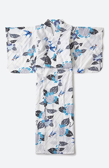 haco! ひでや工房 京都の綿ちりめん浴衣 <ホワイト×ブルー>の商品写真