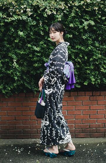 haco! ひでや工房 京都の綿ちりめん浴衣 <ブラック×ホワイト>の商品写真